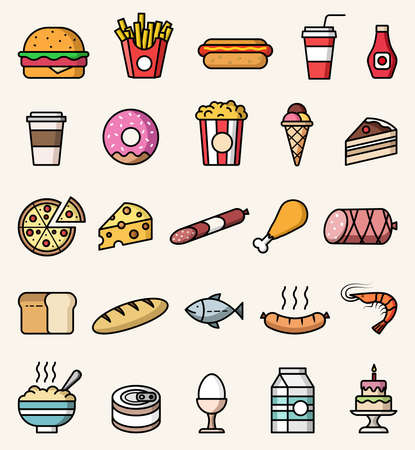 Vector food icons. Isolated colorful flat style illustrations set