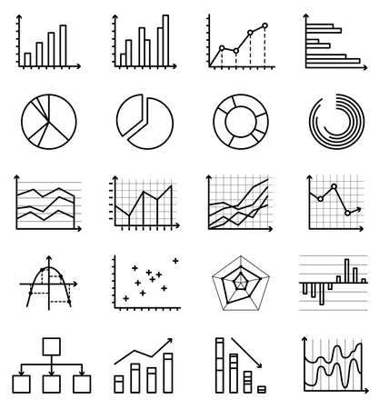 Vector outline isolated icons of graphs, schemes, schedules