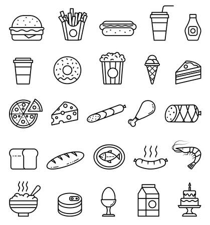 Vector food illustrations. Isolated outline icons set