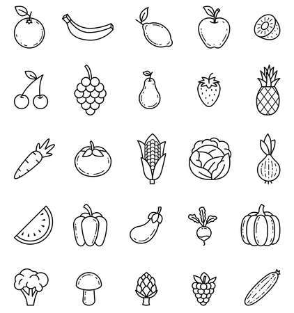 Fruits and vegetables outline isolated vector icons