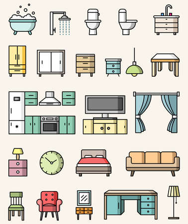 Interior objects flat style colorful icons vector set Stock Illustratie