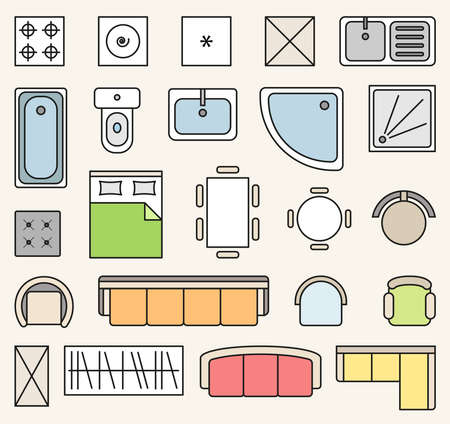 Vector set of colorful isolated interior design floor plan objects icons