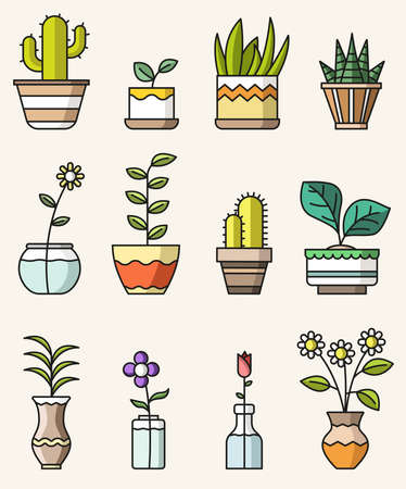 Vector isolated flat style colorful icons of home flowers and plants Stock Illustratie