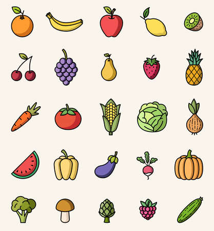 Fruits and vegetables colorful isolated icons vector set Stock Illustratie
