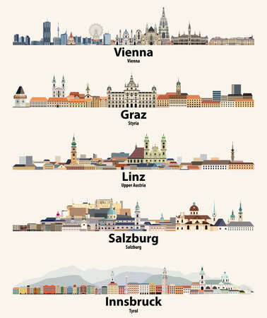 Austria cities skylines vector illustrations set