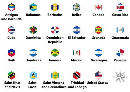 North America countries' flags. Hexagon isolated flat style design icons Illusztráció