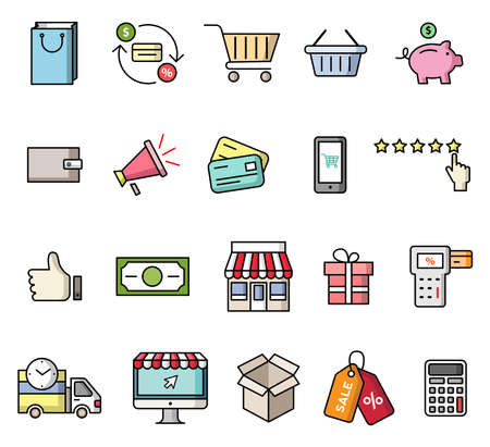 Shopping icons set. Vector isolated colorful flat style illustrations
