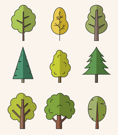 Vector colorful isolated flat style icons of trees