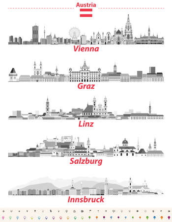 Austria cities panoramic cityscapes vector illustrations in black and white color palette