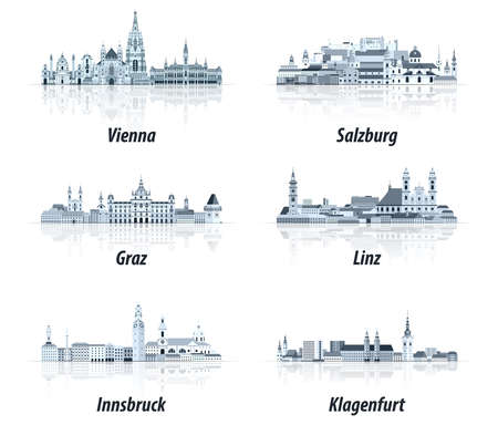 Austrian cities abstract cityscapes icons in tints of blue color palette