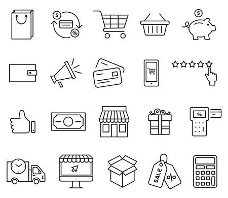 Shopping icons set. Vector isolated outline illustrations set