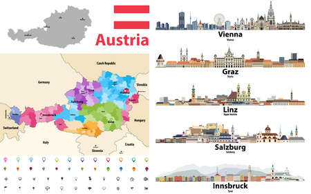 Austria map colored by states showing districts boundaries, with neighbouring countries. Austrian cities skylines. Flag of Austria. Navigation and location icons set. Vector illustration