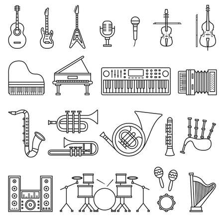 Musicial instruments icons. Vector isolated outline illustrations Stock Illustratie