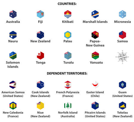 Australia and Oceania countries' flags. Hexagon isolated flat style design icons set