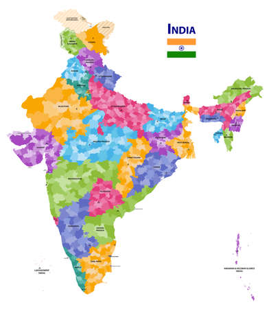 India high detailed vector map showing states and districts boundaries with states' names and capitals. Flag of India