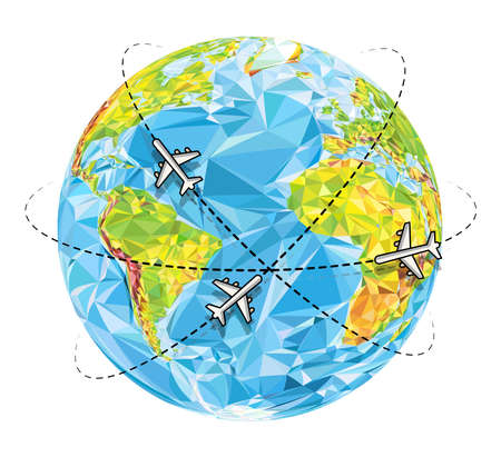 Vector abstract polygonal Earth planet with flying airplanes. Travel background