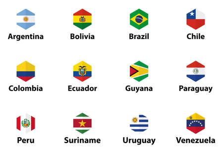 South America all countries' flags. Hexagon isolated flat style design icons set