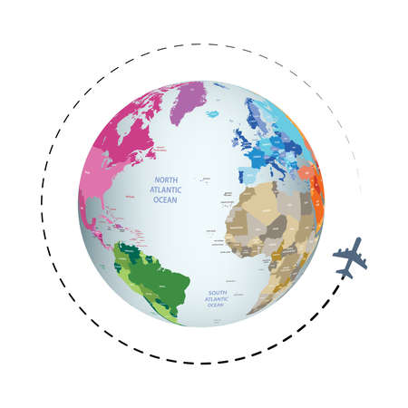 Around the world travel vector with Earth plnaet and flying airplane
