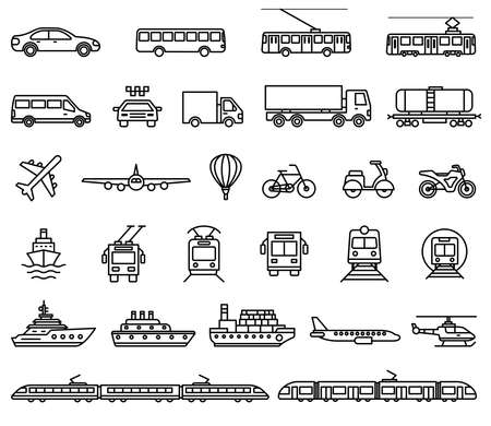 Transport icons. Vector isolated outline illustrations collection