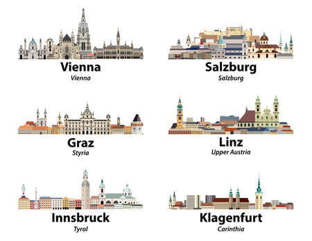 Austria main cities skylines vector isolated icons