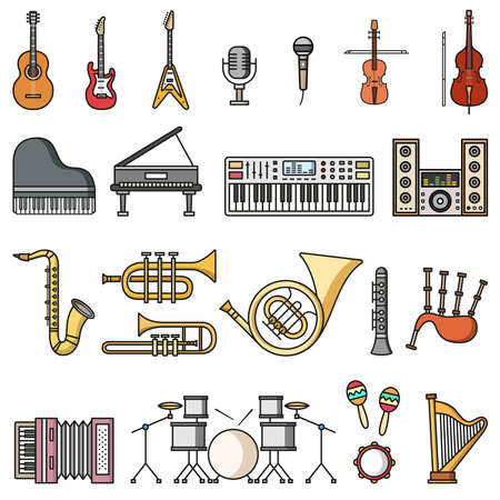 Musicial instruments icons. Vector isolated colorful flat style illustrations Stock Illustratie