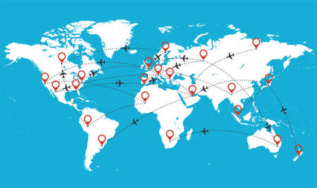 Vector map of the world with flying airplanes Stock Illustratie