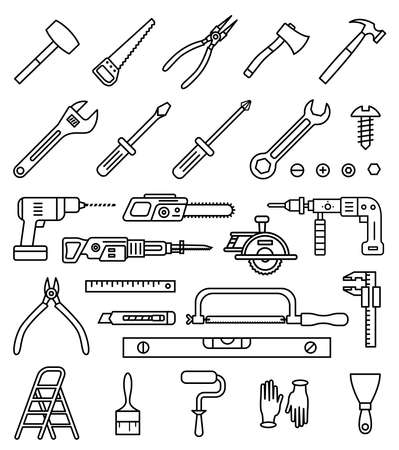 Household tools vector isolated outline icons set