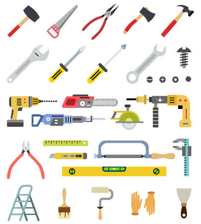 Household tools vector colorful isolated icons