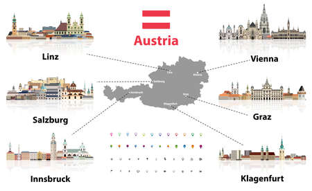 Austria map with main austrian cities skylines' flat style colorful icons. Navigation and location icons set. Vector illustration