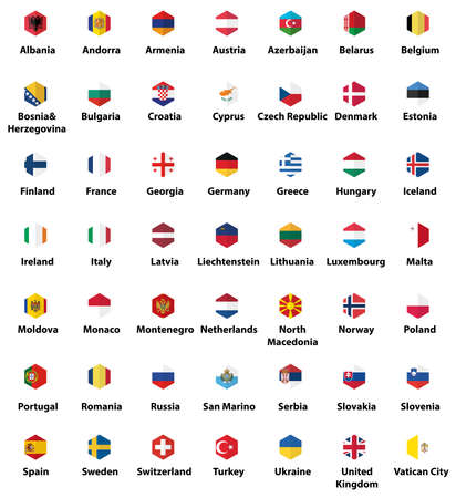 Europe all countries' flags. Hexagon isolated flat style design icons set