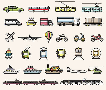 Transport icons. Vector isolated colorful flat style illustrations collection