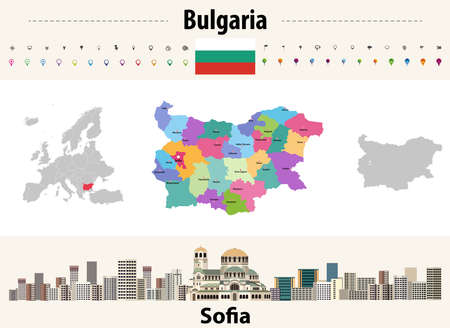 map of Bulgaria provinces with capital cities. Sofia cityscape. Bulgaria flag. Vector