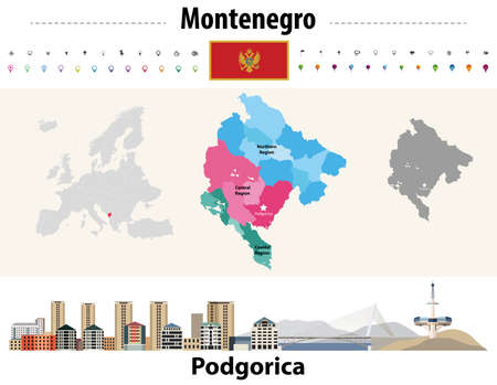Montenegro administrative divisions map. Flag of Montenegro. Podgorica cityscape. Vector illustration