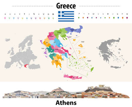 Greece administrative divisions map. Flag of Greece. Athens cityscape. Vector illustration