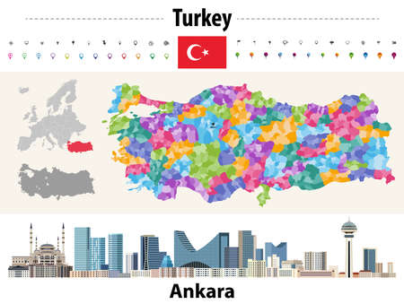 Turkey distrcts colored by provinces map. Ankara cityscape. Vector illustration