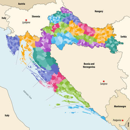 Vector map of Croatia municipalities colored by counties with neighboring countries and territories Stock Illustratie