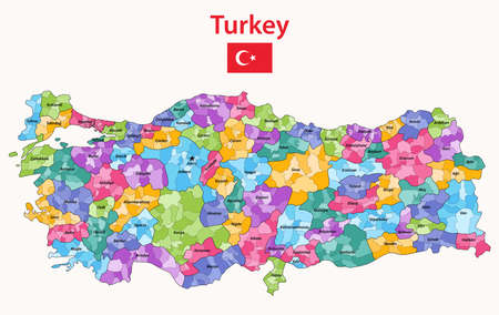 Turkey distrcts colored by provinces high detailed vector map