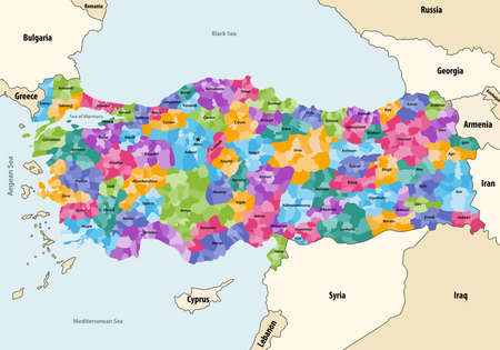 Turkey distrcts colored by provinces vector map with neighboring countries and territories