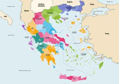 Vector map of Greece provinces colored by regions with neighboring countries and territories