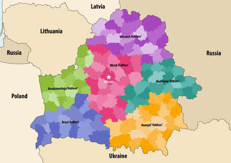 Vector map of Belarus regions colored by administrative districts with neighboring countries and territories