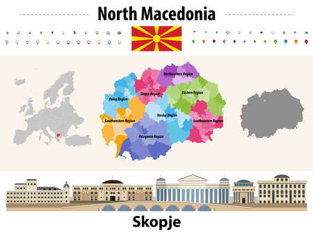 North Macedonia administrative divisions map. Flag of North Macedonia. Skopje cityscape. Vector illustration