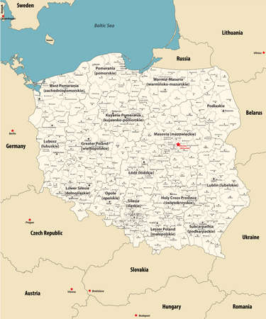 vector map of Poland administrative divisions colored by provinces with neighboring countries. Polish names gives in parentheses, where they differ from the English ones