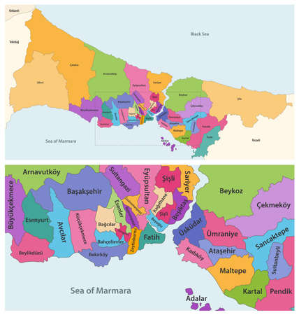 Districts of Istanbul province vector close up detailed map