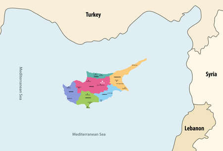 Cyprus regions vector map with neighboring countries and territories