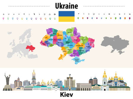 Ukraine regions (oblasts) with administrative divisions (raions) map. Flag of Ukraine. Kiev cityscape. Vector illustration