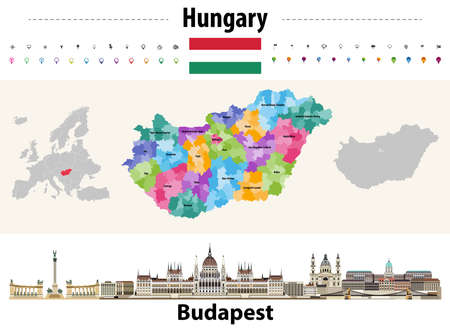 Hungary administrative divisions map. Flag of Hungary. Budapest cityscape. Vector illustration Stock Illustratie