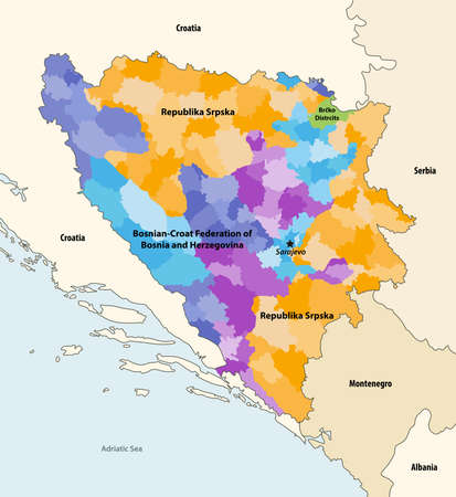 Vector map of municipalities of Bosnia and Herzegovina colored by regions, with neighboring countries and territories Stock Illustratie