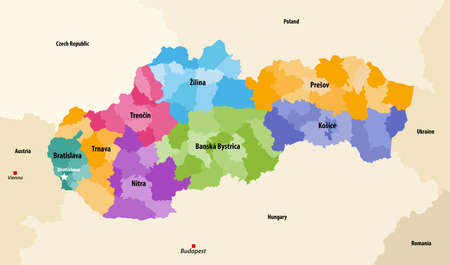 Districts (okresy) of Slovakia colored by regions vector map with neighboring countries and territories Stock Illustratie