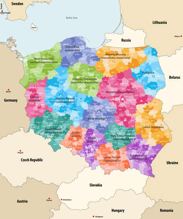 vector map of Poland administrative divisions colored by provinces (known as voivodeships) with neighboring countries an territories