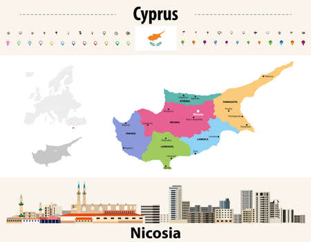Cyprus administrative divisions map with main cities. Flag of Cyprus. Nicosia cityscape. Vector illustration